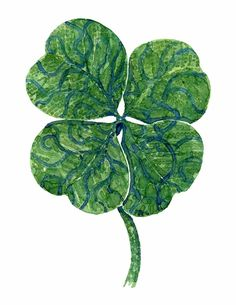 Four leaf clover watercolor by Frits Ahlefeldt #painting #plant #flowers #nature #luck #lucky #wish #icon