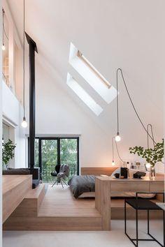 Interior skylight, a modern and elegant solution for .- Interior skylight, a modern and elegant solution for home Modern House Design, Modern Interior Design, Minimal Home Design, Architecture Design, Home Fashion, Home Decor Bedroom, Modern Bedroom, Bedroom Ideas, Diy Bedroom