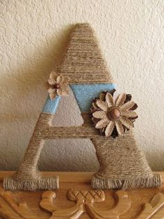 rustic twine wrapped wood letters w accent yarn and burlap accessories 15 plus Twine Letters, Burlap Letter, Yarn Wrapped Letters, Yarn Letters, Diy Letters, Letter A Crafts, Wooden Letters, Rustic Letters, Burlap Crafts
