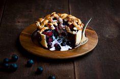 Incredibly delicious looking Blueberry Rhubarb Deep Dish Pie. #food #blueberries #rhubarb #pie