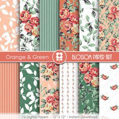 Flower Digital Paper Pack, Red Flowers Digital Scrapbooking Pack - Red and Green Floral Papers - INSTANT DOWNLOAD