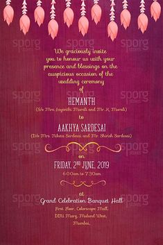 Buy printed illustrated invitation cards for Maharashtrian weddings online. Marathi hindu wedding card made to be creative and attractive with illustrated elements featuring couple in traditional maharashtrian wedding attire. Marriage Invitation Templates, Wedding Invitation Card Wording, Muslim Wedding Invitations, Engagement Invitation Cards, Illustrated Wedding Invitations, Wedding Invitation Background, Creative Wedding Invitations, Wedding Card Templates, Marriage Invitation Wordings