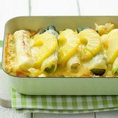 Recept - Ovenschotel met prei en ananas - Allerhande