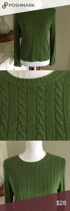 """Sale! J. Crew Cable Knit Rabbit/Cashmere Sweater This super soft green cable knit sweater from J. Crew features longs sleeves and scoop neck. 40% merino wool; 30% rayon; 20% rabbit hair; 10% cashmere. Size: Medium. Chest: 17.5"""". Length (shoulder to hem): 21.5"""" J. Crew Sweaters"""