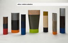 attico 'cristina celestino' collection of wrapped vases at salone satellite