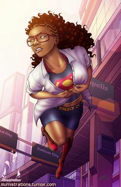 art sketch illustration drawing supergirl natural hair black african american woman girl superheroes superhero hero heroes illumistrations