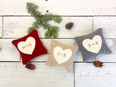 Personalized Heart Pillow by Away Up North on #etsy #maineteam #wedding