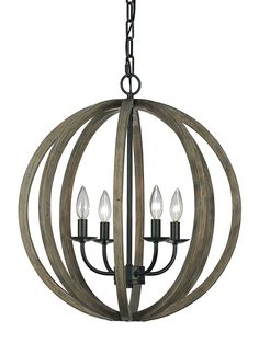 MASTER BEDROOM OPT 1 F2935/4WOW/AF,4 - Light Pendant fixture,Weathered Oak Wood / Antique Forged Iron