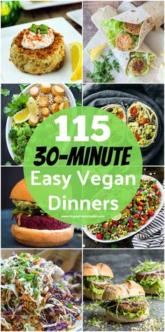 I can't wait to try every single one of these 115 (30-minutes or less) easy vegan dinner recipes! I've already tried a few of the recipes and each one is delicious! If you want to save time and cut your cooking time in half, you need this list!