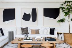 statement art in a neutral living room