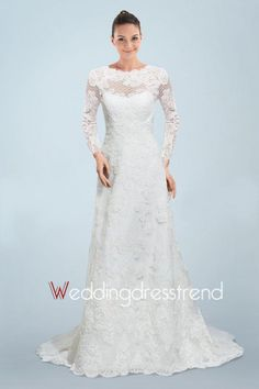 Exquisite Appliqued A-line Sweep Lace Wedding Dress