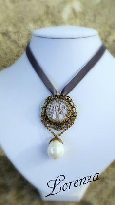 """Pendentif romantique """"Vierge Marie"""", médaille ancienne en argent"""