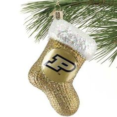 Purdue Boilermakers Gold Glass Stocking Ornament