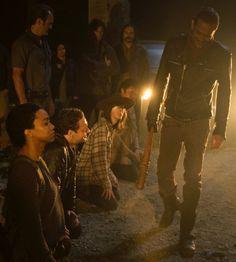 Negan, Sasha, Aaron, Carl, Eugene (Simon standing behind Carl)