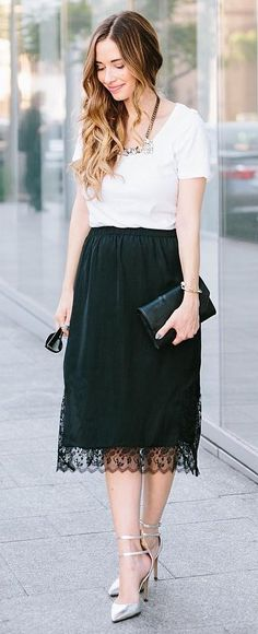 White Tee + Black Lace Maxi Skirt + Metallic Pumps