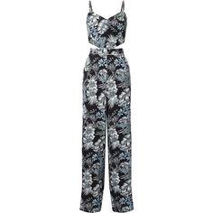 Miss Selfridge Print Cutout Jumpsuit (210 BRL) ❤ liked on Polyvore featuring jumpsuits, women, miss selfridge, jump suit, patterned jumpsuit, miss selfridge jumpsuit and cut out jumpsuit