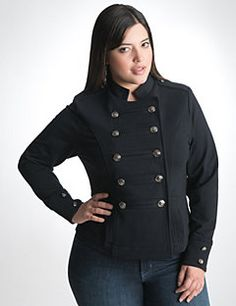Polish your look with the slimming structure and clean lines of this season's perfect-fitting military jacket. Soft French terry jacket makes a chic layering piece for casual and dressy ensembles, featuring classic military details like epaulets, mandarin collar, button-accented cuffs and two rows of embossed buttons down the front. Two convenient pockets complete the look.