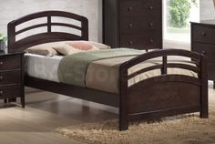 San Marino Arched Headboard and Footboard Bed in Dark Walnut by Acme Furniture