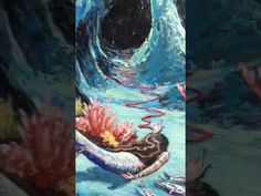 ''ARGO'' : A MERMAID AND SEA CAVE PAINTING, BY THE ARTIST ANGEL. KOURKOULOU