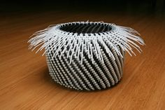 Making coiling baskets with zip ties.