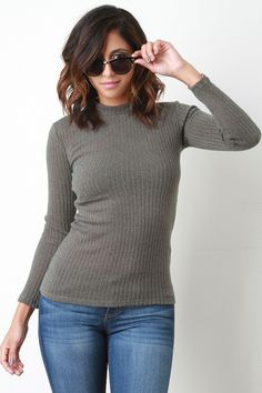 Ribbed Knit Mock Neck Long Sleeves Sweater Top