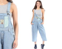 90s Overall Long Shorts Denim Shortalls Romper Playsuit Grunge Jean Suspender Light Blue  Faded One Piece Woman 1990s Vintage Medium
