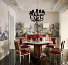 AD - Brooke Shields. In the dining room, a tole chandelier from Laurin Copen Antiques is paired with Jansen chairs and a vintage Ralph Lauren Home marble-top pedestal table.