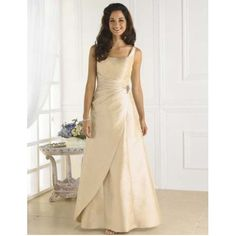 Sheath Square Beaded Ruched Satin Ankle Length Ivory Bridesmaid Dress
