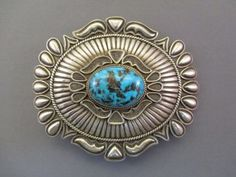 Sterling Silver & Morenci Turquoise Buckle by Tom Jim