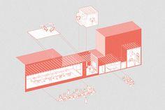 """Ex lavanderia a Barcellona, trasformata in un doppio spazio di lavoro e condivisione, organizzati attorno a un piccolo patio centrale, come in uno schema di """"narrow house""""."""