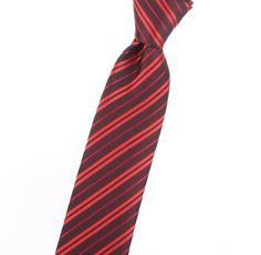 Narrow / Skinny Men's necktie with red, solid color, striped/stripes, design  #J1873NARROW