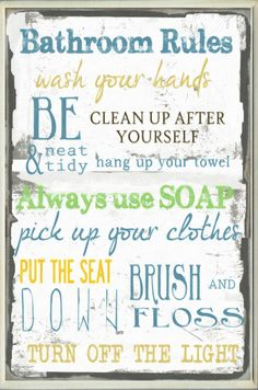 Bathroom Tall Rectangle Textual Art Wall Plaque