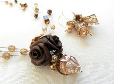 Fall jewelry   Brown jewelry  Polymer necklace and by insoujewelry, $63.00