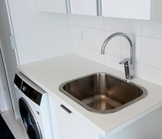 Oras Cubista kitchen faucet with a washing machine valve in utility room (2839F)