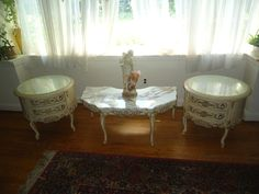 VINTAGE FRENCH PROVINCIAL NIGHTSTANDS/END TABLES & MARBLE COFFEE TABLE - ROCOCO #Rococo