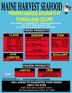 Maine Harvest Seafood presents Seafood Saturdays at Glenora Wine Cellars, Seneca Lake, Finger Lakes