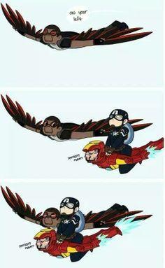 falcon, captain america, and iron man.