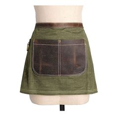 Canvas/Leather Half Apron – Olive