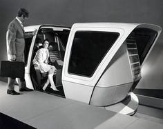 """atomic-flash: """"The Case for Personal Rapid Transit - Transportation Technology Incorporated's People Mover, January (image via Transportation Library Archive) """" Transportation Technology, Future Transportation, Transport Technology, Moda Cyberpunk, Rapid Transit, Futuristic Art, Googie, Space Age, Dieselpunk"""