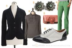 green pants & cool blazer outfit