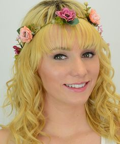 Look at this Leto Collection Pink & Peach Floral Twine & Lace Tie Crown Headband on #zulily today!