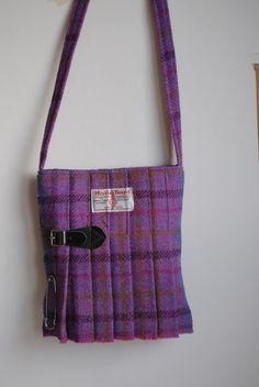 10b47bef8d40 Medium Harris Tweed Kilt Bag in a purple tartan handmade on Orkney in SCotland  Harris Tweed