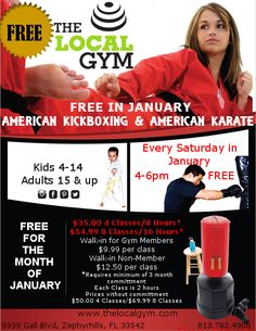 FREE American Kickboxing & Karate the month of January 2016