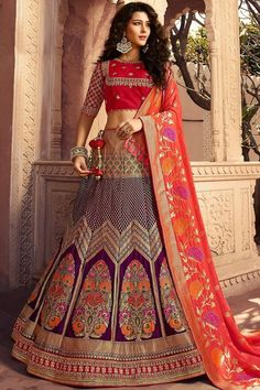 Purple and khaki lehenga choli with dupatta. Work - Heavy weaving and embroidery work on lehenga and choli with weaving work on dupatta. Lehenga bust and waist can be customized up to Matching choli and dupatta comes with this. Banarasi Lehenga, Ghagra Choli, Bridal Lehenga Choli, Silk Dupatta, Choli Designs, Lehenga Designs, Lehenga Choli Online, Indian Bridal Wear, Embroidered Silk