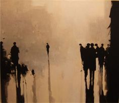 Painting from Geoffrey Johnson. His images carry a sense of reflection and solemnness. I'm instantly drawn to his use of sepia tones. Art And Illustration, Modern Art, Contemporary Art, Figurative Kunst, Painting Inspiration, Watercolor Art, Art Photography, Street Art, Sketches