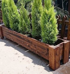 DIY & Home Project. If you want to grow some plants or vegetables in your yard, first you are going to need some good planter boxes. DIY planter box designs, plans, ideas for vegetables and flowers Wooden Planters, Diy Planters, Planter Ideas, Planter Pots, Pallet Planter Box, Long Planter Boxes, Garden Pallet, Plantas Indoor, Vertical Garden Design
