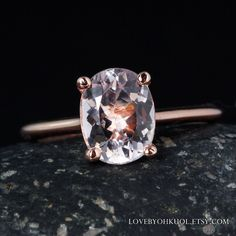 Rose Gold Pink Morganite Engagement Ring - Oval Morganite - Solitaire Setting by lovebyohkuol on Etsy https://www.etsy.com/listing/489994718/rose-gold-pink-morganite-engagement-ring