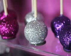 12 Shimmery Glitter Cake Pops Birthday Party Retirement Fuchsia Purple Silver Favors Sweets Table Candy Buffet Chocolate Shimmer on Etsy Edible Glitter, Glitter Cake, Glitter Balloons, Glitter Slime, Glitter Flats, Glitter Party, Glitter Cardstock, Cakepops, Disco Dust