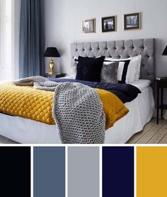 Blue Bedroom Colors, Navy Blue Bedrooms, Blue Bedroom Decor, Modern Bedroom, Bedroom Ideas, Contemporary Bedroom, Bedroom Yellow, Bedroom Designs, Bedroom Classic