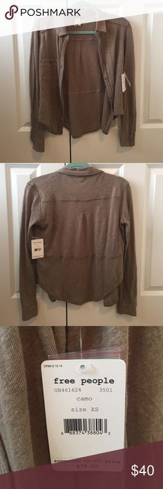 Free People Button up shirt Free People long sleeve button up shirt. Never worn, new with tags. I really like it, it is just too small for me. Free People Tops Tees - Long Sleeve